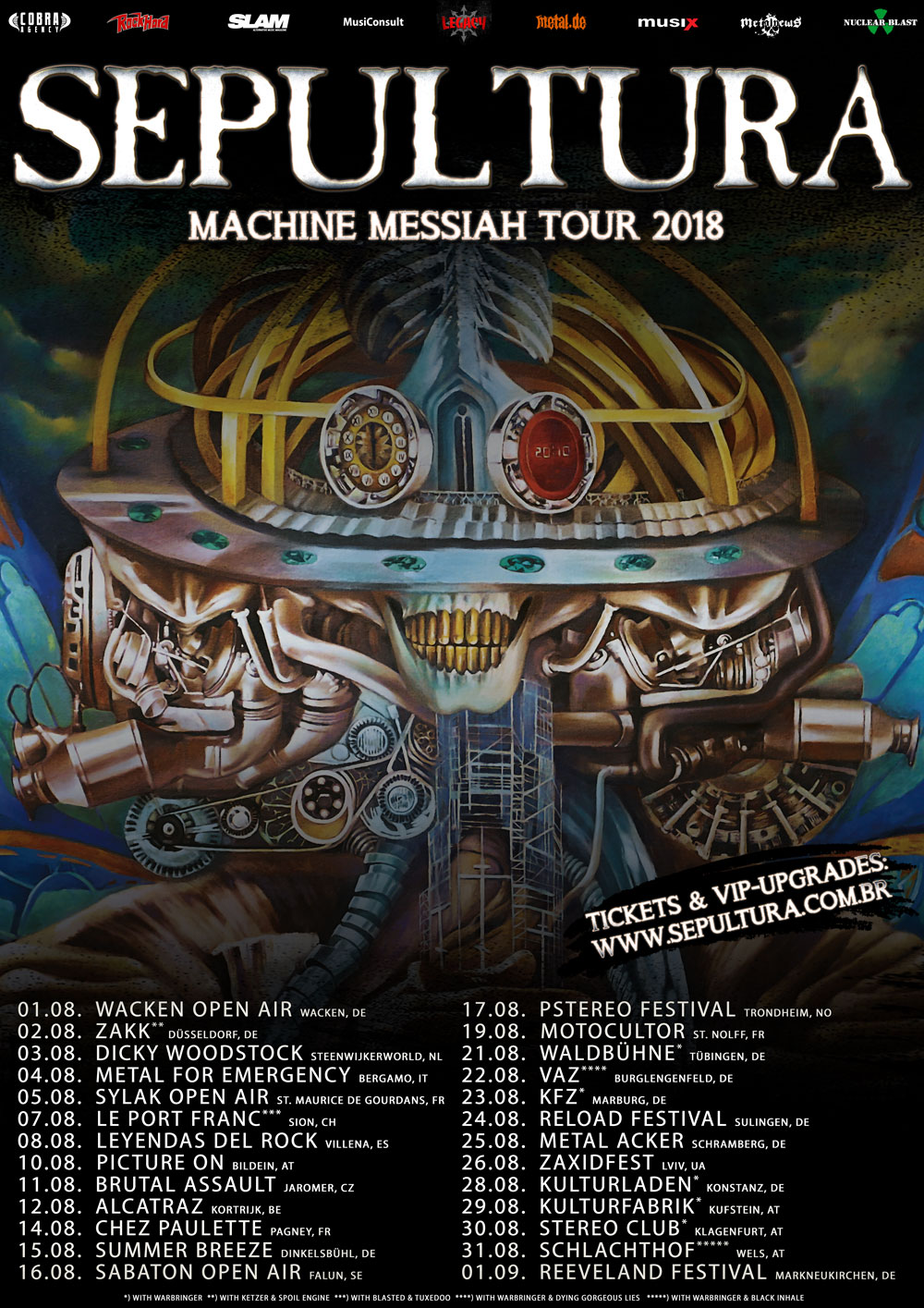 SEPULTURA kündigen »Machine Messiah Sommer Tour« durch Europa an!