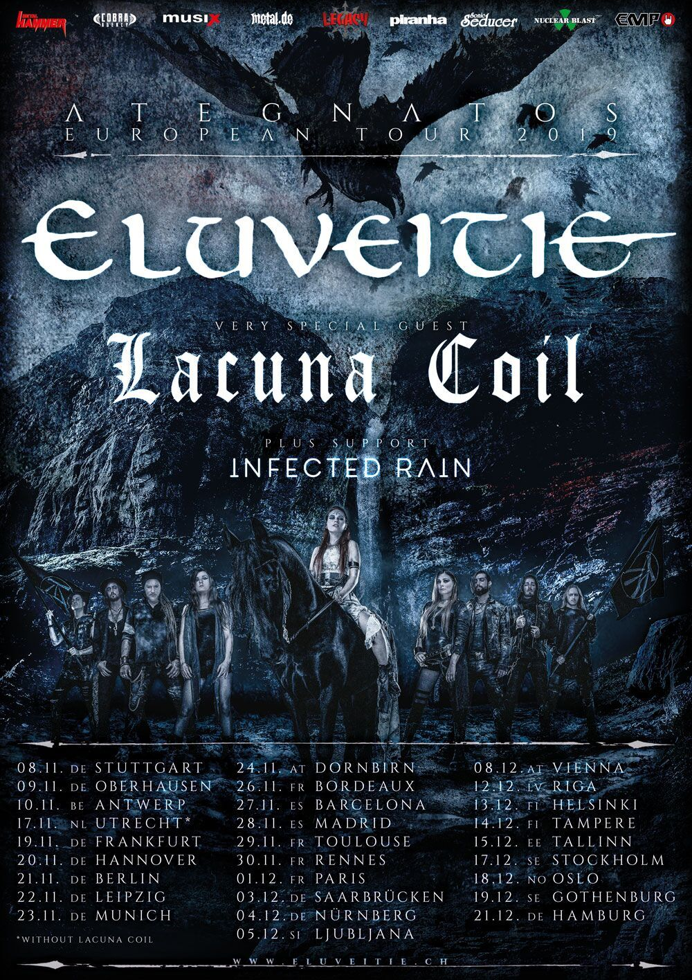 ELUVEITIE & LACUNA COIL & INFECTED RAIN