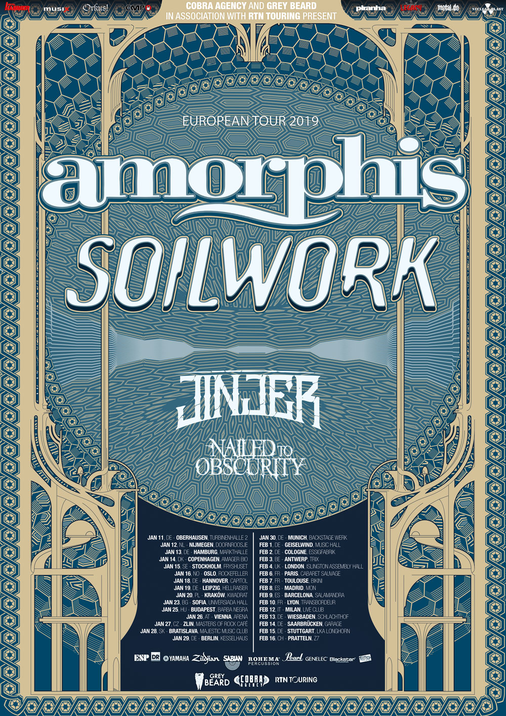 LEGACY präsentiert: AMORPHIS, SOULWORK, JINJER, NAILED TO OBSCURITY live 2019!